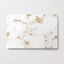 White Marble with Gold Accents Metal Print