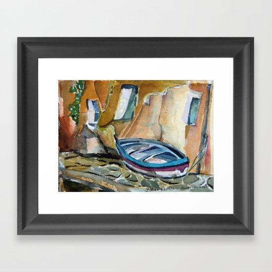 Italian Riviera Row Boat Framed Art Print