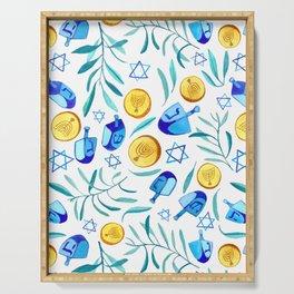 Hanukkah Dreidels Jewish Holiday Watercolor Pattern  Serving Tray