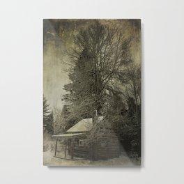 Log Cabin in the Woods Metal Print