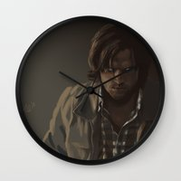 sam winchester Wall Clocks featuring Ezekiel. Sam Winchester by Armellin