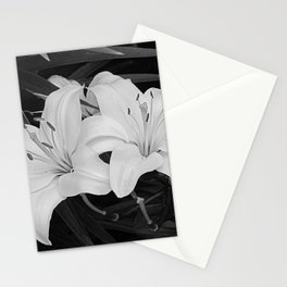 Contemporary Black White Lily Flower Floral Art A116 Stationery Cards