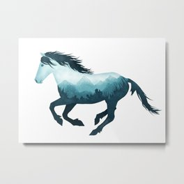 Wild Horse Mustang Equine Double Exposure Wildlife Animal Metal Print