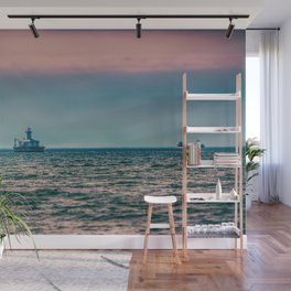 Freighter in Lake Huron near 14 Foot Shoal Lighthouse Great Lakes Shipping Wall Mural