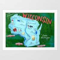 wisconsin Art Prints featuring WISCONSIN by Christiane Engel