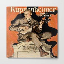 Banjo Player; Vintage Men's Fashion Poster Metal Print