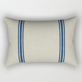 Blue Stripes on Linen color background French Grainsack Distressed Country Farmhouse Rectangular Pillow