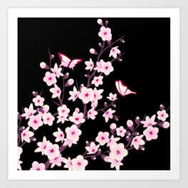 Cherry Blossoms Pink Black Art Print