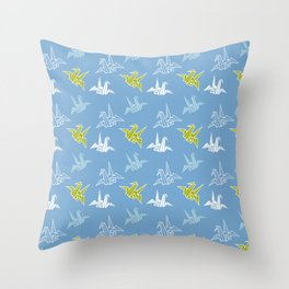 Blue Green Origami Crane Japanese Kimono Pattern Throw Pillow