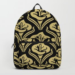 Calla Lily Pattern Black and Gold Backpack
