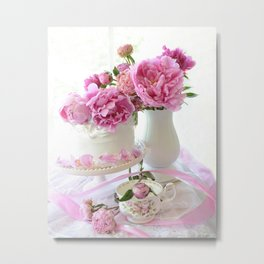 Shabby Chic Pink and White Peony Romantic Prints and Home Decor Metal Print