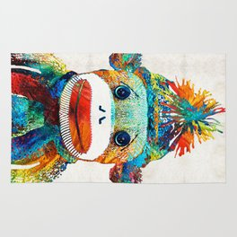Sock Monkey Art - Your New Best Friend - By Sharon Cummings Rug