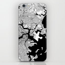 Boston Black and White Map iPhone Skin