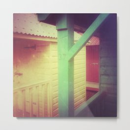 Beach Huts 37B - Retro Metal Print