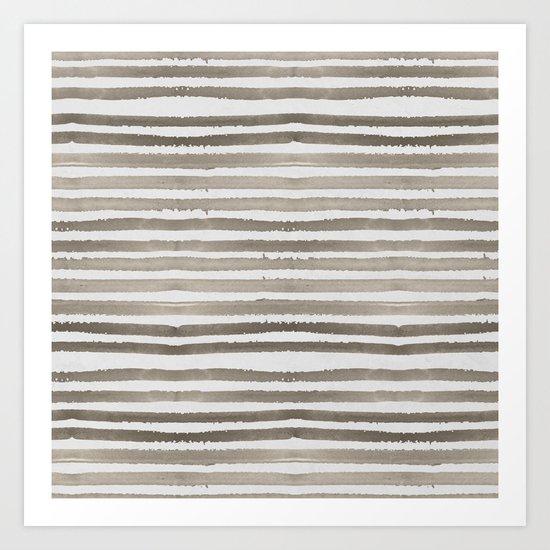 Simply Shibori Stripes Earth Brown on Lunar Gray Art Print