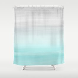 Touching Aqua Blue Gray Watercolor Abstract #1 #painting #decor #art #society6 Shower Curtain