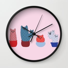 Catcus - Pink Theme Wall Clock