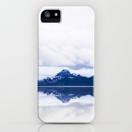 Navy blue Mountains Against Lake With Clouds iPhone Case