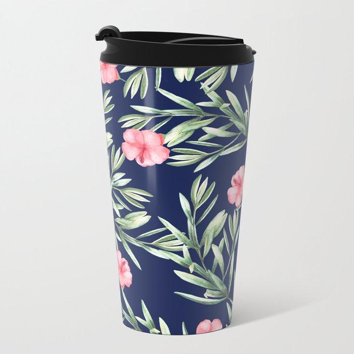 Delicate Hibiscus Blue Metal Travel Mug