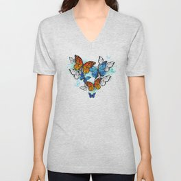 Morpho and Monarchs Butterflies Unisex V-Neck