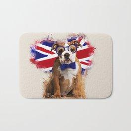 English Bulldog Puppy in Glasses Bath Mat