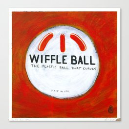 "Wiffle Ball (2011), 17"" x 17"", acrylic on gesso on chipboard Canvas Print"
