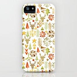 Winter forest scandinavian background iPhone Case