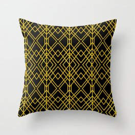Chicago Cigar Bar Gold and Black Art Deco Throw Pillow