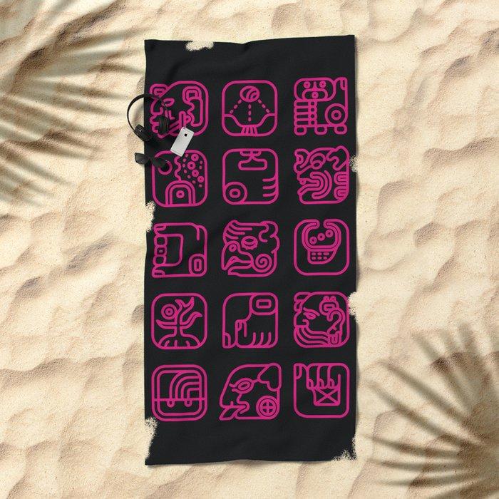 Maya Writing System Beach Towel