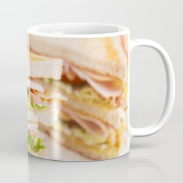 Club sandwich on a rustic table in bright light Coffee Mug