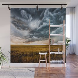 Rolling Thunder - Dramatic Storm Clouds Churn Over Golden Wheat Field in Colorado Wall Mural