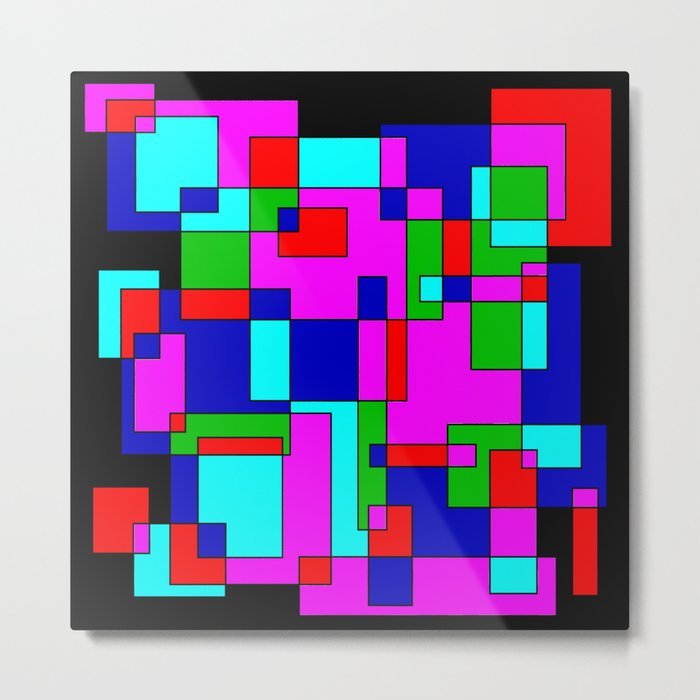 rectangles on black Metal Print