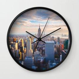 New York City at Sunset Wall Clock
