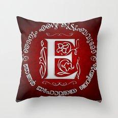 Joshua 24:15 - (Silver on Red) Monogram E Throw Pillow