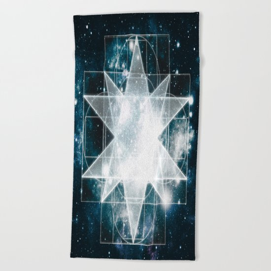 Sacred Geometry : Teal Galaxy Beach Towel