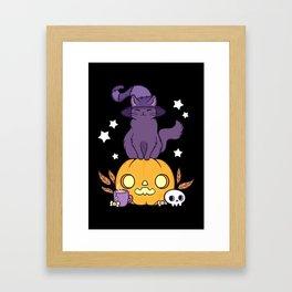 Pumpkin Cat // Black Framed Art Print