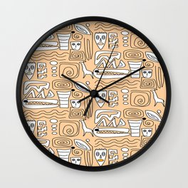 African Tribal  Symbols Wall Clock