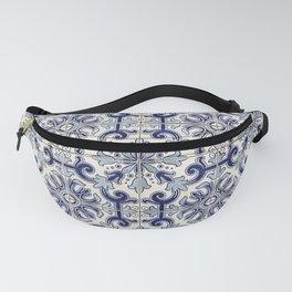 Portuguese tiles pattern blue Fanny Pack