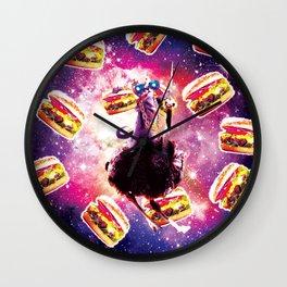 Thug Space Cat On Ostrich Unicorn - Burger Wall Clock