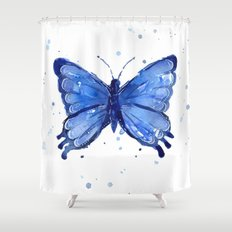 Butterfly Blue Watercolor Animal Painting Shower Curtain