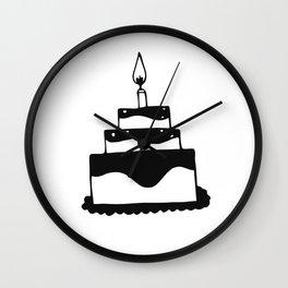 Monochrome birthday cake Wall Clock