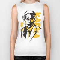 kafka Biker Tanks featuring Kafka portrait in Orange, Black & Yellow by aygeartist
