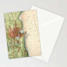 Vintage Map of Plattsburgh New York (1872) Stationery Cards