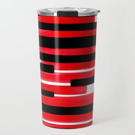 Red Primitive Stripes Mid Century Modern Minimalist Watercolor Gouache Painting Colorful Stripes Travel Mug