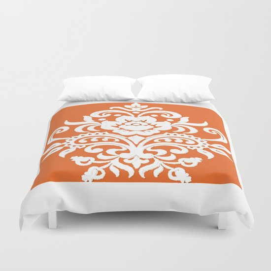 Damask on Peach Duvet Cover