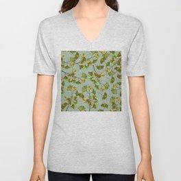 Asian-Inspired Exquisite Leaves In Elegant Green Hues Unisex V-Neck