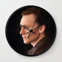 tom hiddleston Wall Clocks featuring Hiddleston by Andi Robinson