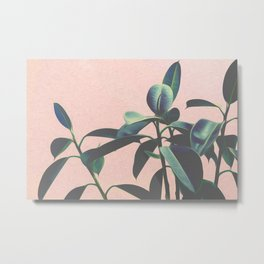 Pink Tropical Leaves Metal Print