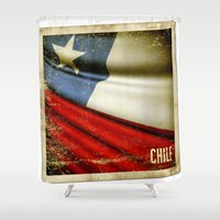 sticker Shower Curtains featuring Chile grunge sticker flag by Lulla