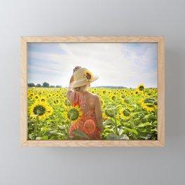 Woman in Sunflower Field Landscape Framed Mini Art Print